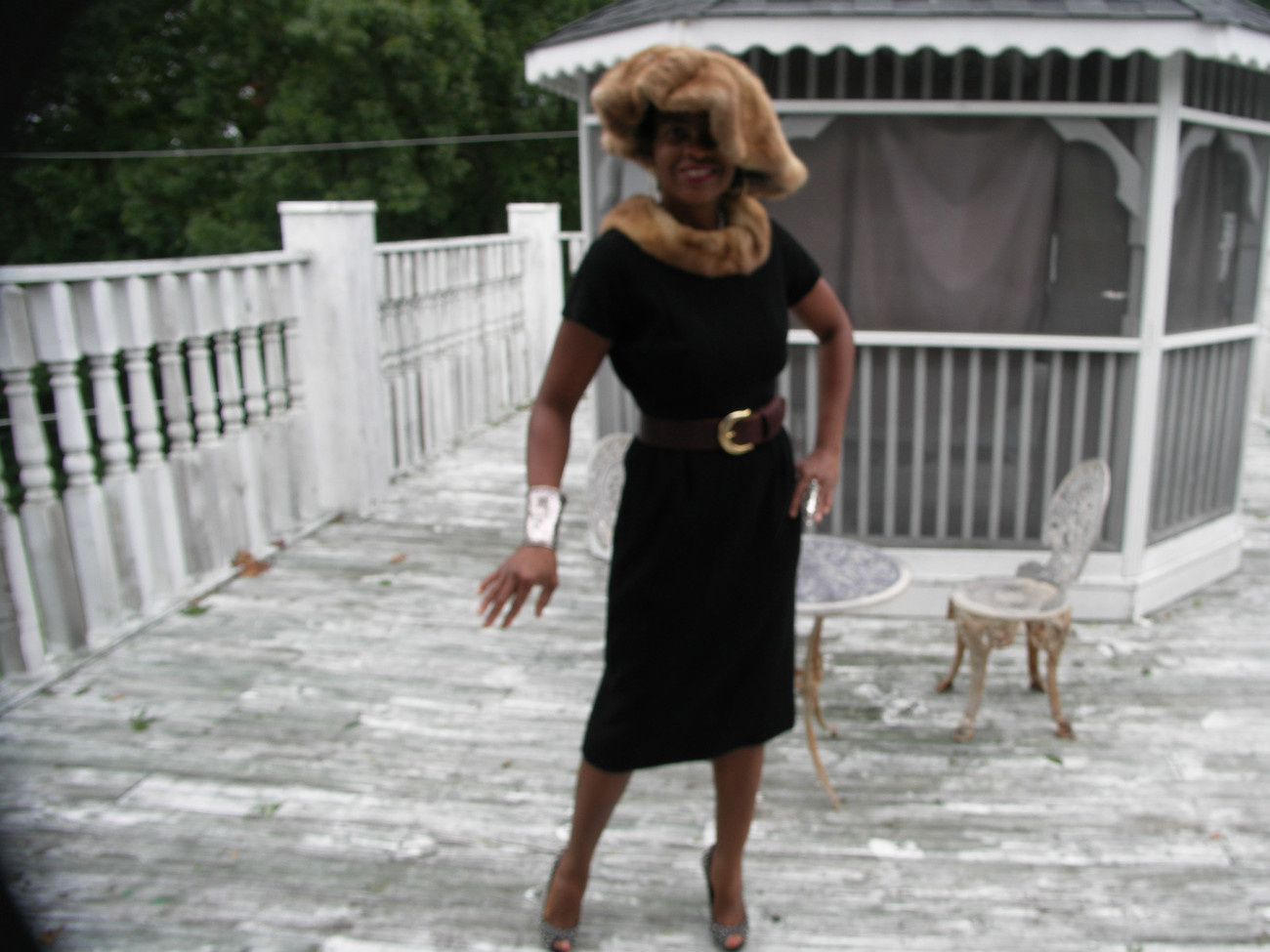 Fab  tea length Mink & Black Textured Poly dress gown + wide brim mink hat S 2-6 - $643.49