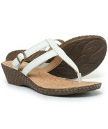 $80 NIB Born Iris Wedge Leather Sandals, White, Size 8 M US - $39.59