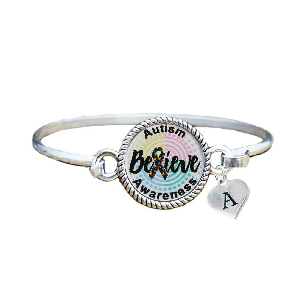 Primary image for Custom Autism Awareness Believe Silver Bracelet Jewelry Choose Initial Family
