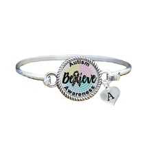 Custom Autism Awareness Believe Silver Bracelet Jewelry Choose Initial F... - $14.10+