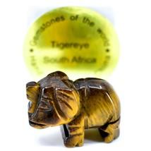 Tiger's Eye Gemstone Tiny Miniature Elephant Figurine Hand Carved in China