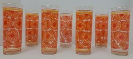 (7) Mid Century Modern Washington Glass Orange Starburst Atomic Hi Ball ... - $261.79