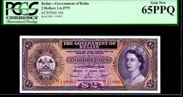"""BELIZE P34b """"QUEEN ELIZABETH II' $2 1975 PCGS 65PPQ - $1,495.00"""