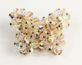 50s ESTATE VINTAGE Jewelry HIGH END HAND WIRED GLASS CRYSTAL BUTTERFLY B... - $15.00