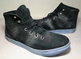 Andrew Marc Size 10.5 MULLBERRY Black Suede Leather Sneakers New Men's S... - $147.51