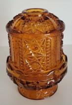 Fairy Lamp Indiana Glass Fairy Light Candle Holder Stars & Bars Amber 6.... - $24.99