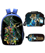 WM Legend Of Zelda Backpack Lunch Box Pencil Case Outdoor School Package A - $40.99
