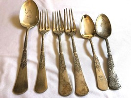 Mixed Lot of 6 pc Reed & Barton B.P.  Silver Plate Serving tea spoon Forks - $35.64