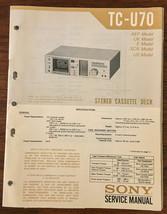Sony TC-U70 Cassette Service Manual *Original* - $13.08
