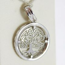 18K WHITE GOLD MINI TREE OF LIFE PENDANT, 0.55 INCHES, ZIRCONIA, MADE IN ITALY  image 3