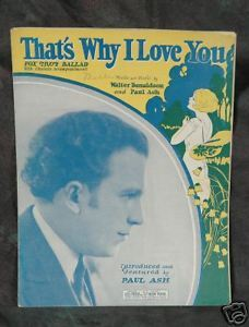 Primary image for That's Why I Love You 1926 Fox Trot by Paul Ash Chords for Guitar