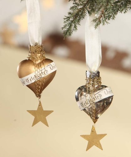 Metallic Heart Mercury Glass Ornaments
