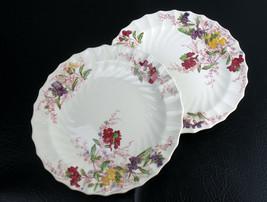 Copeland Spode Fairy Dell Phlox Luncheon Plates 2pc Set, Vintage Bone En... - $33.84