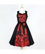 Cute Rockabilly 50s Retro Black Red Steampunk Skull Dress Vintage Pin Up... - $71.53