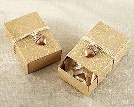 120 Gold Foil Leaf Favor Box with Acorn Charm - $94.96