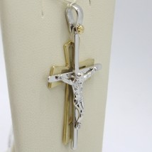 PENDANT DOUBLE CROSS YELLOW GOLD WHITE 750 18K, WITH CHRIST, GLOSSY SATIN image 2