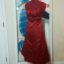 David's Bridal Long apple Red Bridesmaid Cocktail Formal Gown dress Size... - $15.00