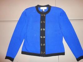 ST.JOHN Collection Women Knit Pant Suit Blue Black Trim Jacket & Pants S... - $321.74