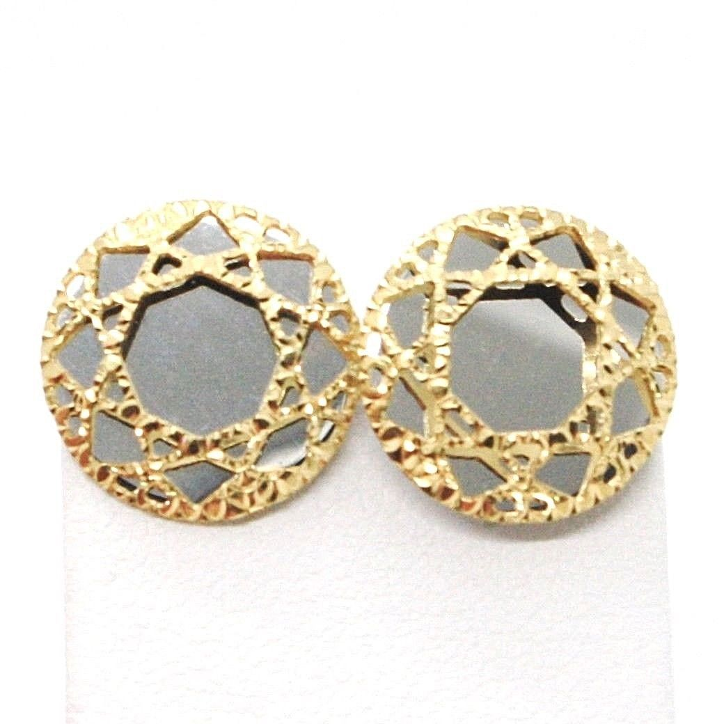 YELLOW GOLD EARRINGS WHITE 750 18K, BUTTON, DISCO, FINELY WORKED