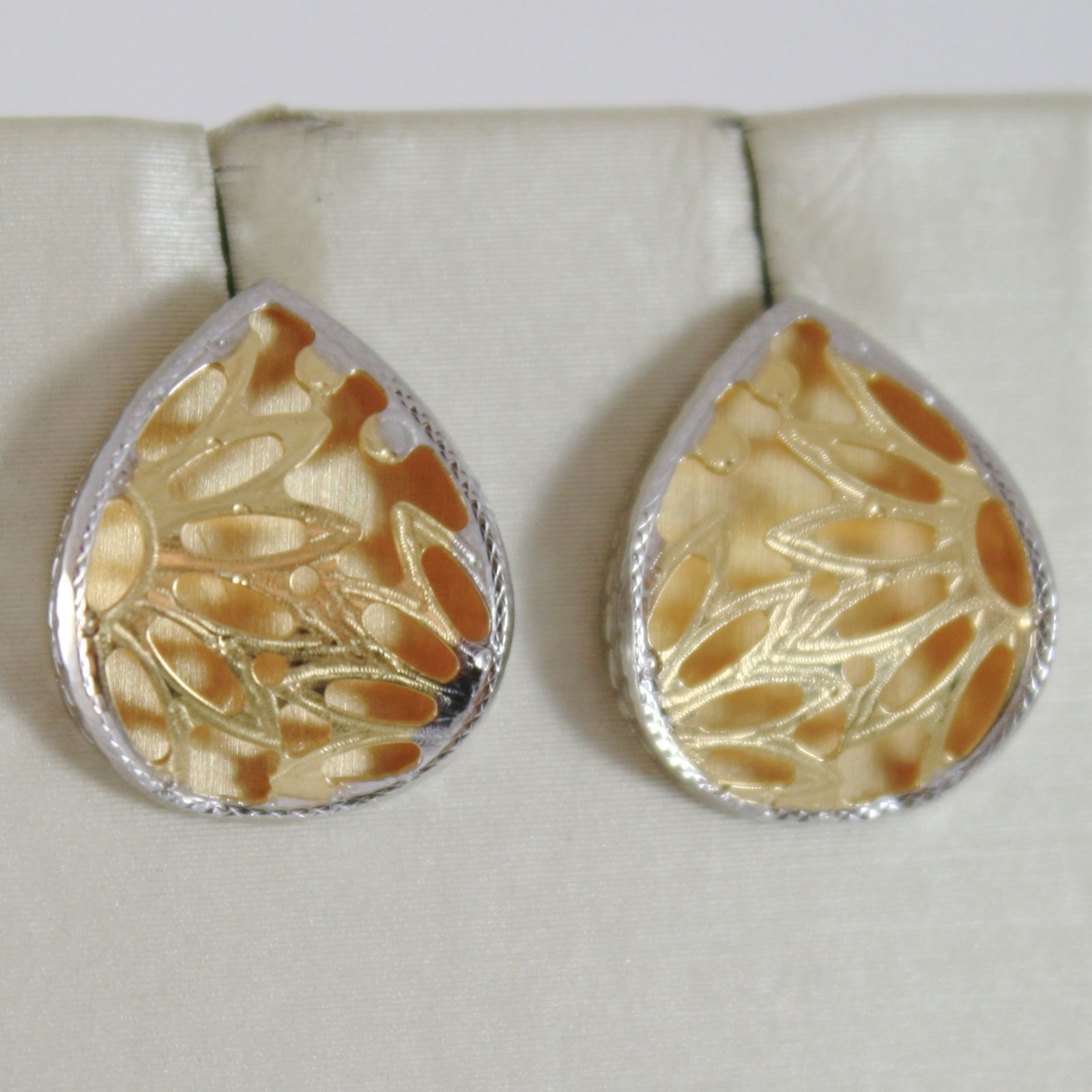 YELLOW GOLD EARRINGS WHITE 750 18K, DROP WITH FLOWERS, SATIN, DOUBLE LAYER