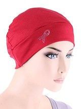 Breast Cancer Awareness Soft Comfy Chemo Cap Hat with Pink Ribbon Rhines... - $17.73