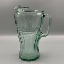 Vintage Georgia Green 64 oz Coca Cola Glass Pitcher Coke Fluted Spout Heavy - $32.33