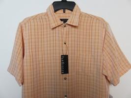 Van Heusen S Plaid Light Orange Casual Dress Shirt Short Sleeve Classic ... - $14.99