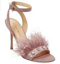 Ivanka Trump Pink Ostrich Feather Kasie Ankle Strap Heels 9M - $42.56