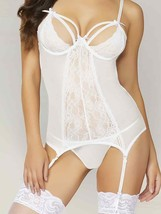 Seven 'til Midnight WHITE Fishnet Merrywidow with Garters Set, US One Size - $22.57