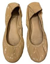 Tory Burch Ballet Flats Shiny Tan Leather Size 8M Womens D4 - $33.66