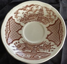 Vintage Alfred Meakin Saucer- Fair Winds - Brown - NEW YORK HARBOR 1930 ... - $8.90