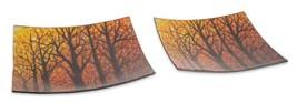 Melrose Set of 2 Orange and Black Woodland Autumn Harvest Glass Platters... - £37.80 GBP