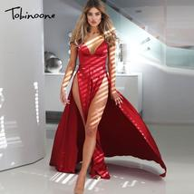 Tobinoone Satin 2018 Summer Maxi Dress Women Sexy V Neck Sleeveless High... - $43.02