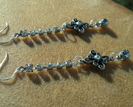 Swarovski Crystals & Rhinestone Earrings Vintage Sterling Silver Hand Made - $39.99