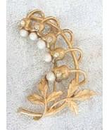 Elegant BSK Crystal Rhinestone & Faux Pearl Gol... - $19.95