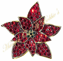 Poinsettia Pin Brooch Fine Crystal Red Green Goldtone Metal Christmas Ho... - $24.99