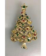 Gerrys Christmas Tree Pin Brooch Goldtone Multi-Color Crystal Rhinestone... - $20.09