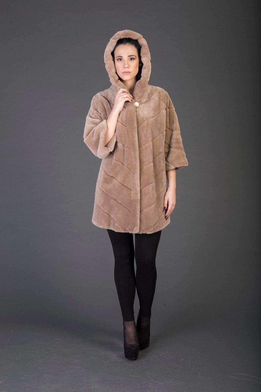 Luxury gift/Light Brown Beaver Fur Coat/Fur jacket /Hooded Wedding,or anniversar image 2