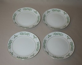 4 Salad Plates Gibson Holiday Charm Christmas Holly Gold Ring & Trim - $15.79