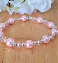 Dainty Pink Pearl Stretch Bracelet - $15.00