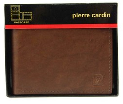 NEW NIB PIERRE CARDIN MEN'S LEATHER CREDIT CARD WALLET PASSCASE BROWN 5979-02