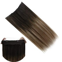 JoYoung Human Hair Halo Extensions for Women 14inch 80g Darkest Brown Ombre to M image 1