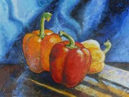 "Akimova: STILL LIFE,  bell peppers, food, acrylic, 18""x24"" - $45.00"