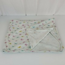 Carters Butterfly Baby Blanket White Pink Yellow Green Blue Swaddle Jers... - $14.84
