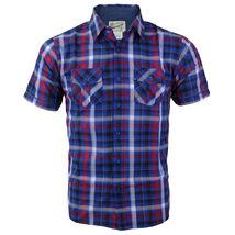 Overdrive Men's Cotton Plaid Button Up Casual Short Sleeve Slim Fit Dress Shirt image 3