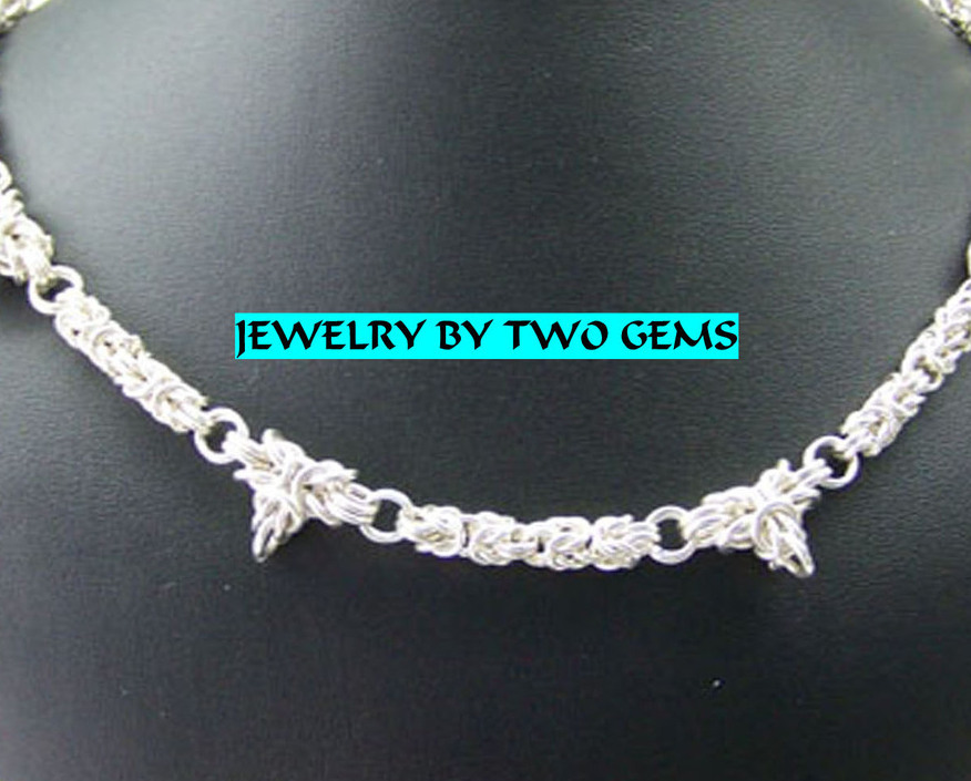 Jewelry By Two Gems (C11) Sterling Silver Chainmaille Neckla