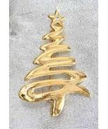 Fabulous Art Moderne Golden Christmas Tree Brooch 1980s vintage - $14.80