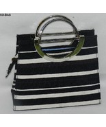 Black and White Striped Purse Clutch with Metal Chrome Handles  - $12.99