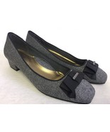 Soft Style by Hush Puppies Sharyl Dress Pump Grey Gray Flannel Black Bow... - $24.99