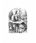 Alice In Wonderland Giclee Print From Sir John Tenniel- Caterpillar and ... - $12.74